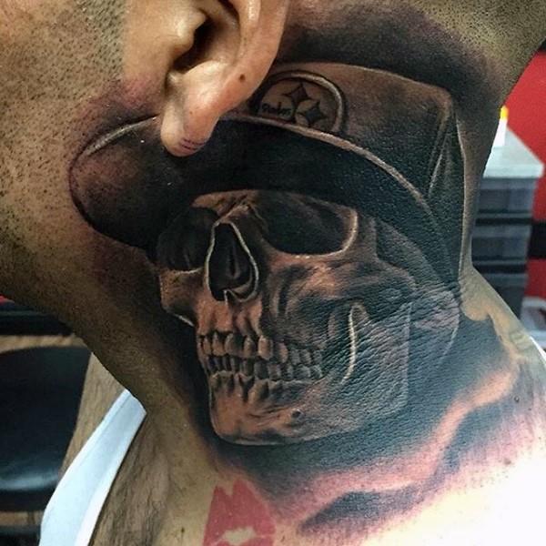 Impressive 3D style human skull tattoo on neck
