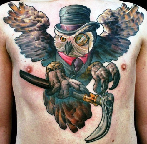 Impressive 3D style large gentleman owl tattoo on whole chest