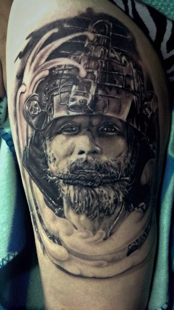 Impressive black and gray style big thigh tattoo of samurai warrior in helmet