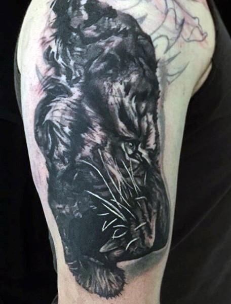 3e809ae0d1bc5 Impressive black and white tiger tattoo on shoulder - Tattooimages.biz