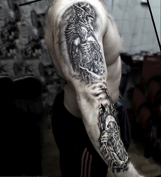 Impressive black and white very detailed sleeve tattoo of various fantasy warriors