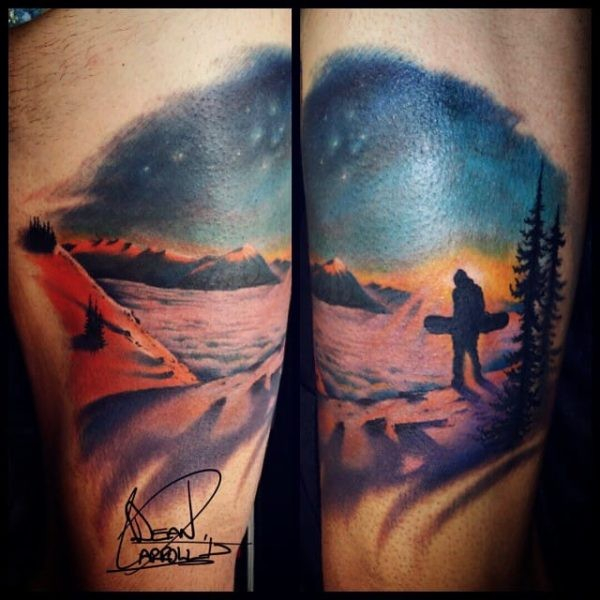 Impressive colored arm tattoo of man with snowboard