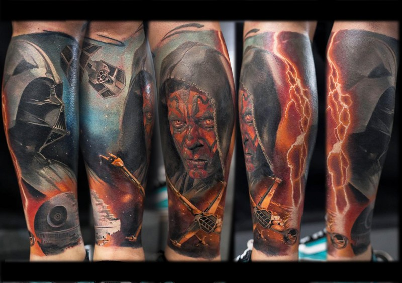 Impressive colored tattoo of various Star Wars heroes