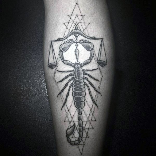 Impressive cult style scorpion with libras tattoo on leg