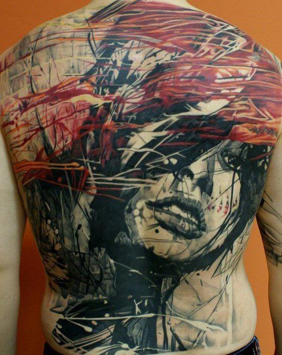 impressionante disegno libri comici colorato astratto ritratto donna tatuaggio pieno di schiena