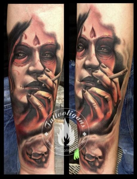 Impressive detailed and colored Mexican traditional smoking woman portrait forearm tattoo