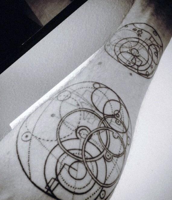 Impressive engineer schematics like black int tattoo on arm