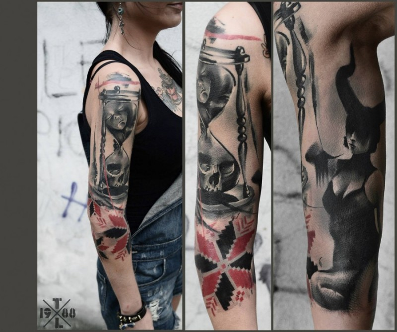 Impressive half colored 3D sand clock tattoo on sleeve combined with ornamental symbol and demonic woman