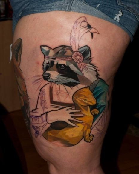 Impressive half colored mystical raccoon tattoo on thigh