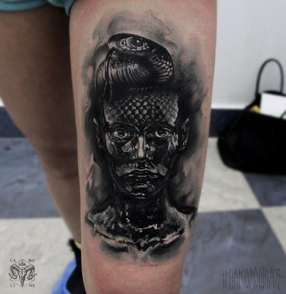 Impressive Looking Black Ink Thigh Tattoo Of Dark Woman