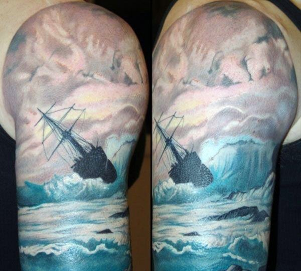 Impressive painted and colored big old ship in waves half sleeve tattoo