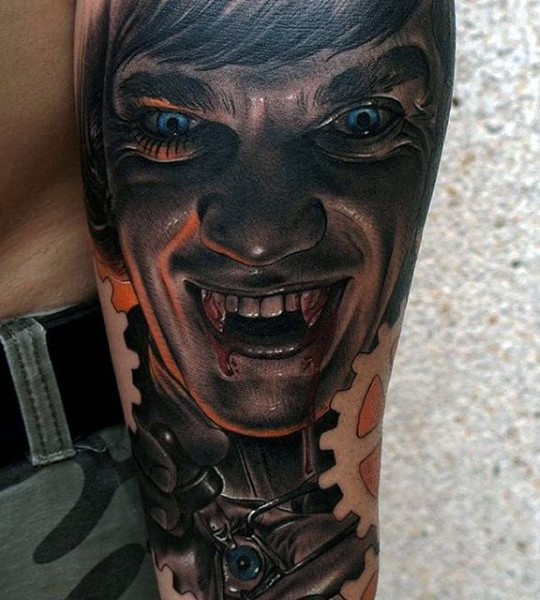 Impressive painted and colored bloody vampire man tattoo on arm