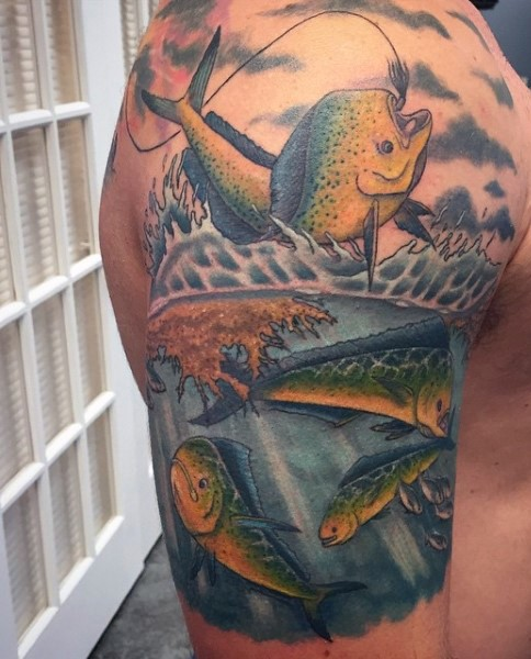 impressive painted colored unique hooked fish tattoo on half sleeve zone. Black Bedroom Furniture Sets. Home Design Ideas