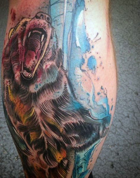 Impressive painted massive roaring bear colored tattoo on leg