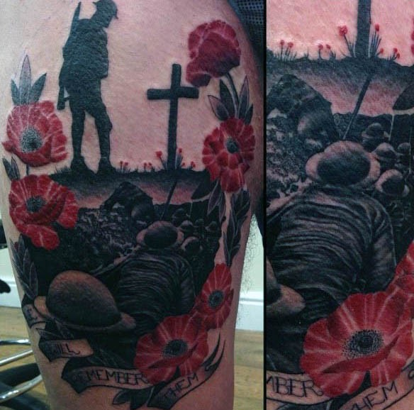 Impressive painted memorial military tattoo with soldier and flowers on thigh