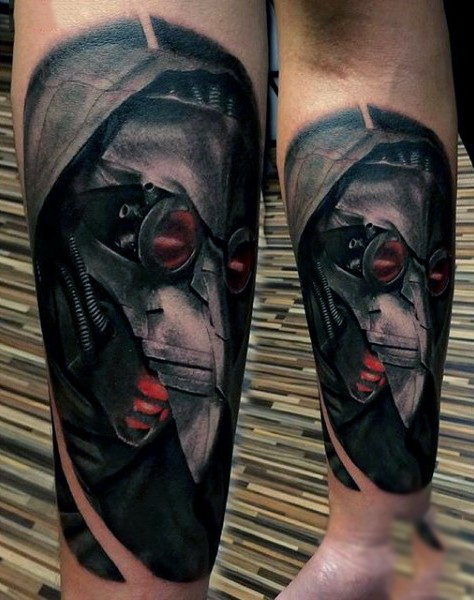 Impressive realism style colored forearm tattoo of creepy alien helmet in hood