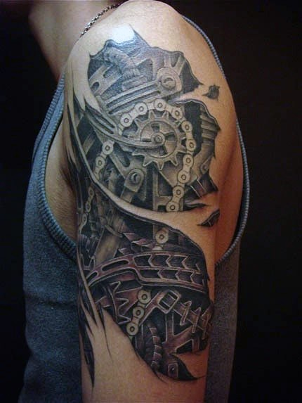 Impressive realistic biomechanical parts in torn skin detailed half sleeve area tattoo