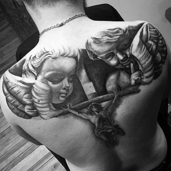 Impressive religious style black and white tattoo with Jesus and angels on upper back