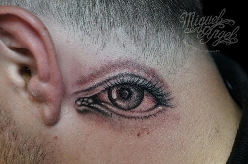 Impressive simple big black ink eye tattoo on neck