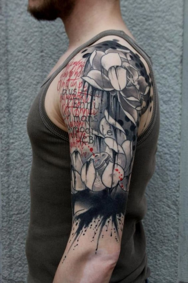 Impressive style painted big flowers shoulder tattoo with lettering