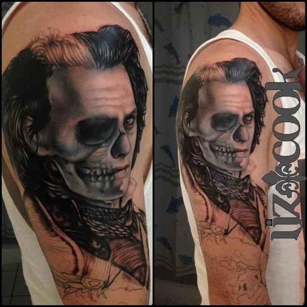 Impressive unfinished shoulder tattoo of mystical man portrait