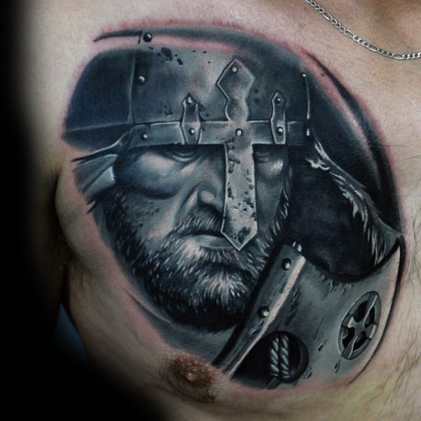 Impressive very detailed black and white medieval warrior tattoo on chest
