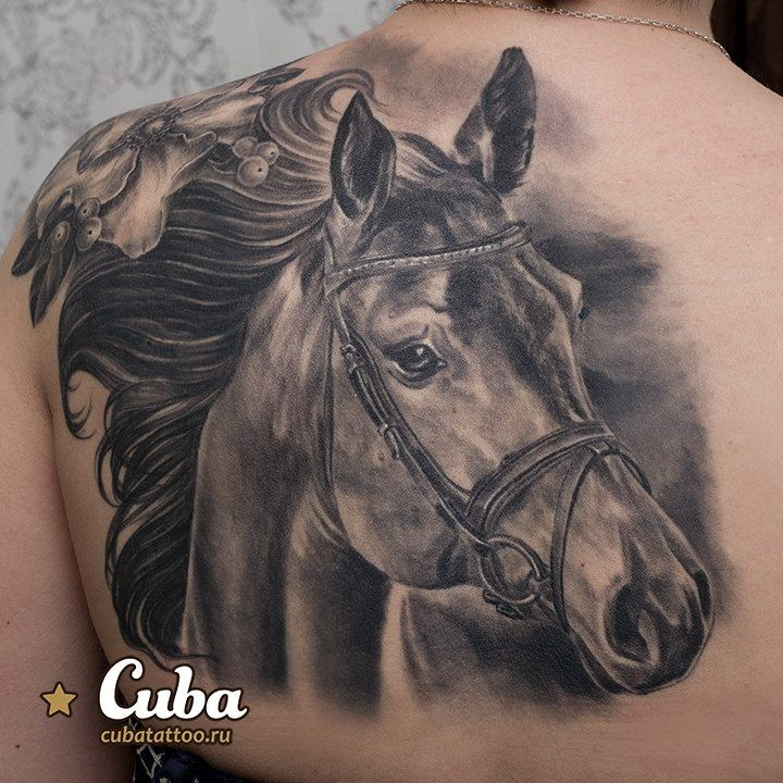 Impressive very detailed looking black and white horse tattoo on back