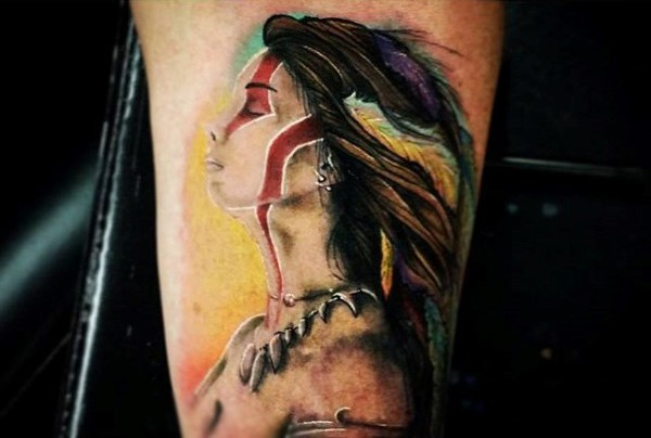 impressive very realistic looking colored tattoo of barbarian woman. Black Bedroom Furniture Sets. Home Design Ideas