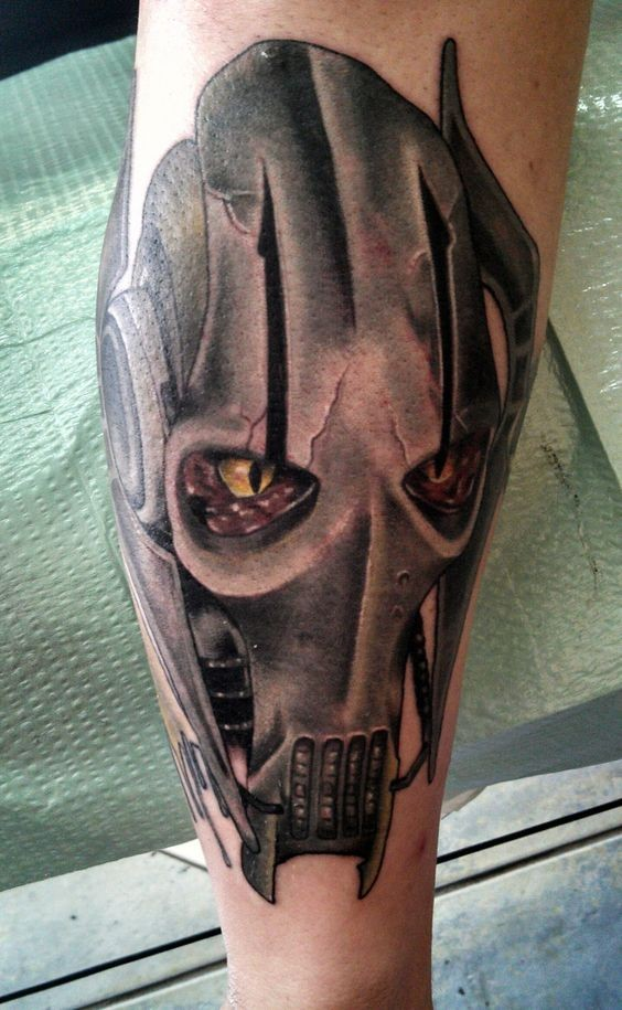 Incredible 3D like Star Wars droid general tattoo on forearm zone