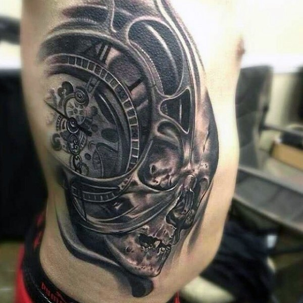 Incredible 3D style black ink human skull combined with mechanical clock