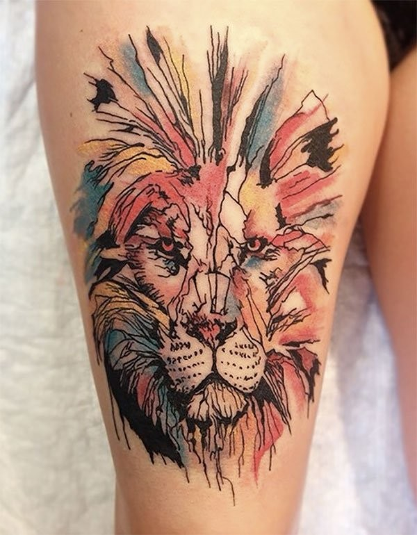 Incredible abstract style big thigh tattoo of lion face