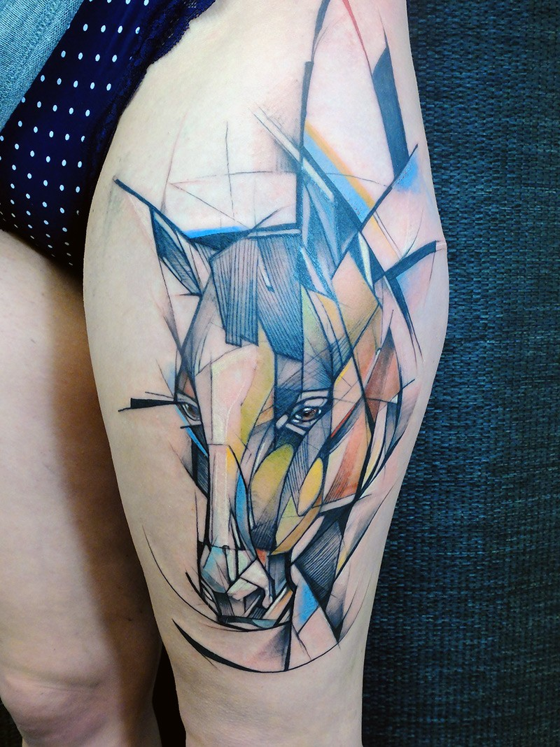 Incredible abstract style colorful thigh tattoo of horse head