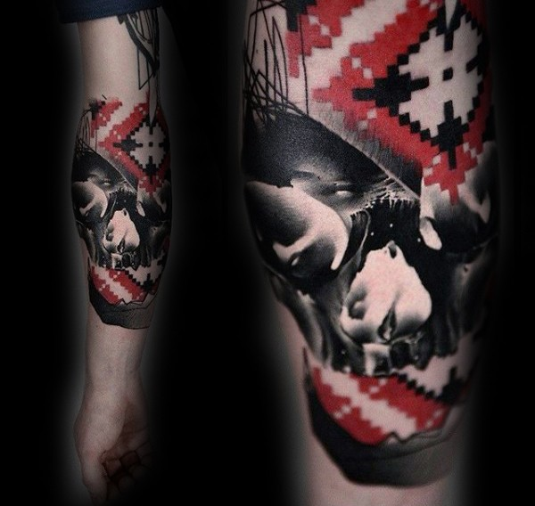 Incredible black and white human skull tattoo stylized with ornaments