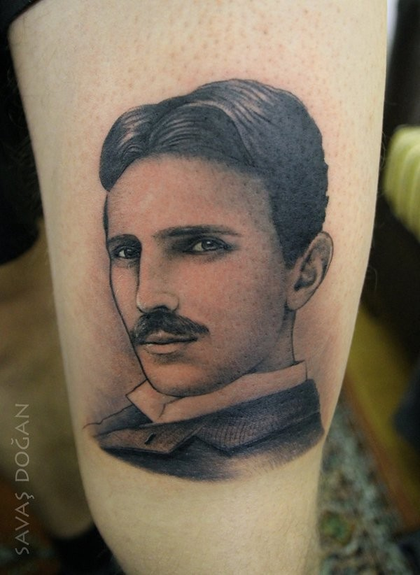 Incredible black and white realistic old style young man&quots portrait tattoo on leg