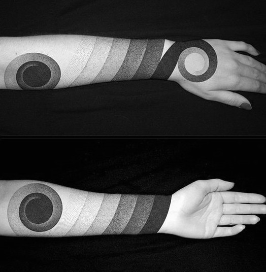 Incredible black ink original forearm tattoo of tribal ornaments