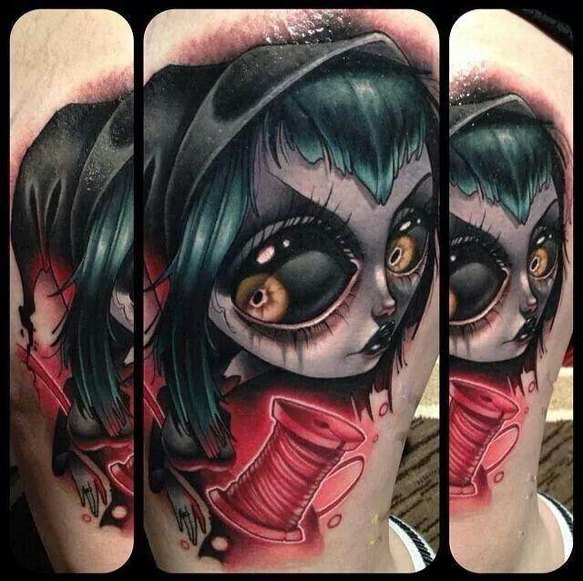 Incredible colored big evil witch doll tattoo on arm