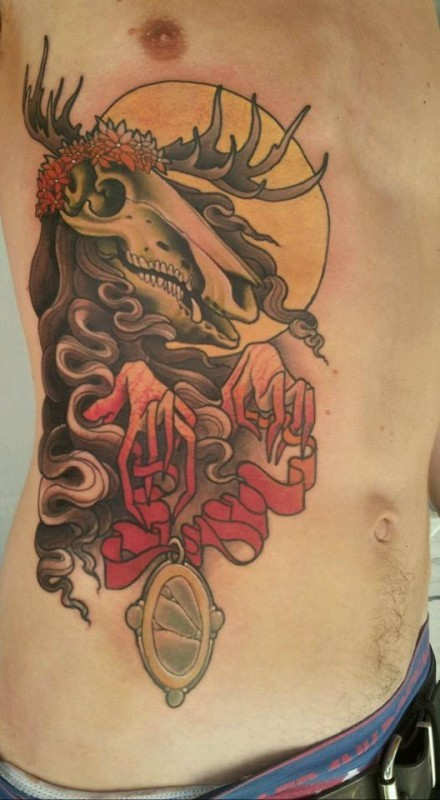 Incredible colored mystical side tattoo of demonic animal