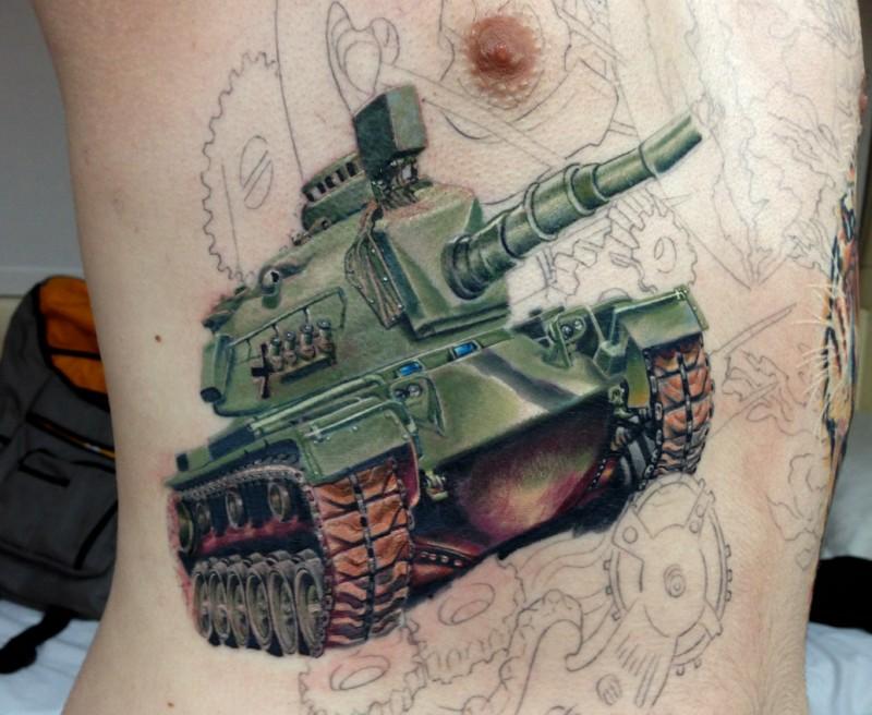 Incredible colored side tattoo fo modern American tank