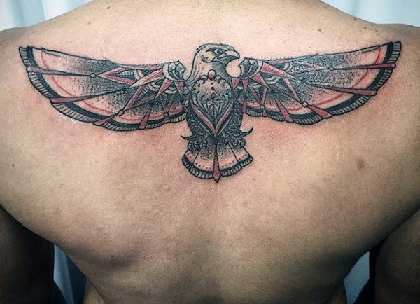 Incredible designed big colorful sharp eagle tattoo on upper back