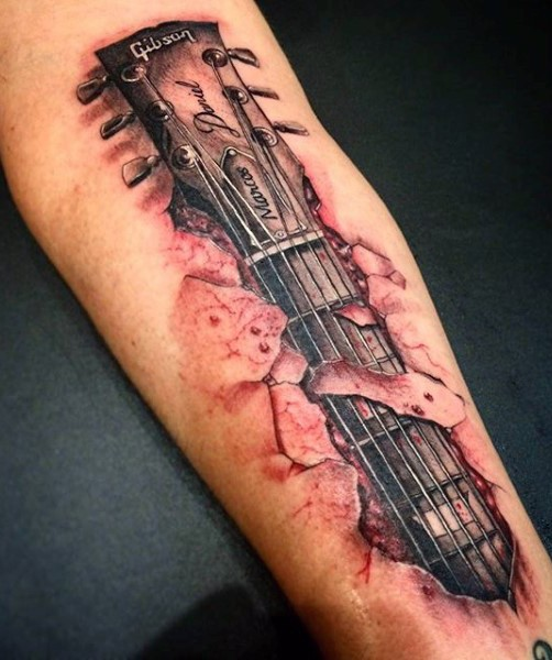 incredible designed very detailed gibson guitar under skin tattoo on arm. Black Bedroom Furniture Sets. Home Design Ideas