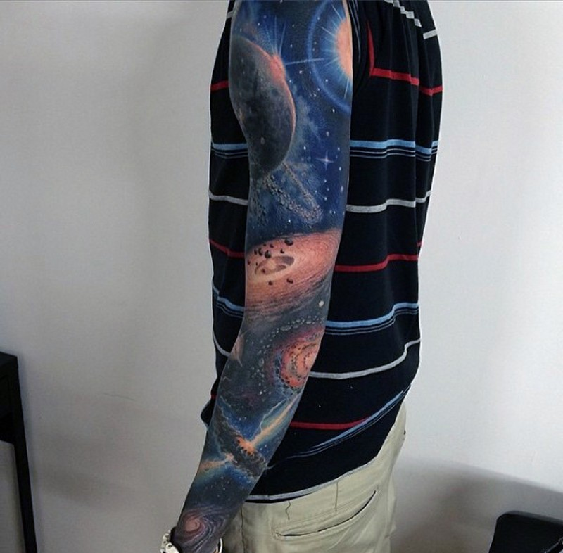 Incredible detailed and colored big space tattoo on sleeve
