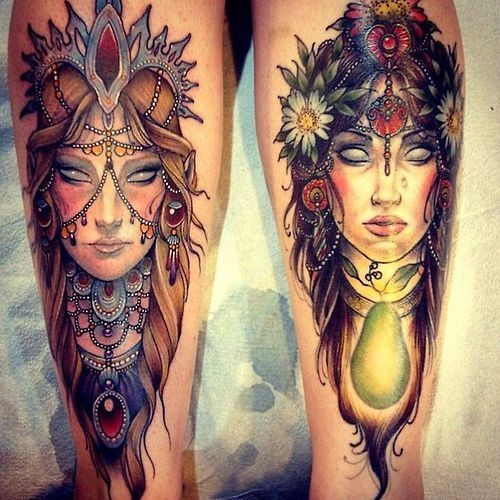 Incredible ideal detailed colorful woman portraits tattoo on legs stylized with flowers
