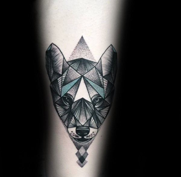 Incredible looking arm tattoo of black panther with pyramid