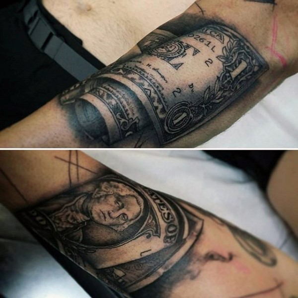 incredible looking black and white money bill tattoo on forearm. Black Bedroom Furniture Sets. Home Design Ideas