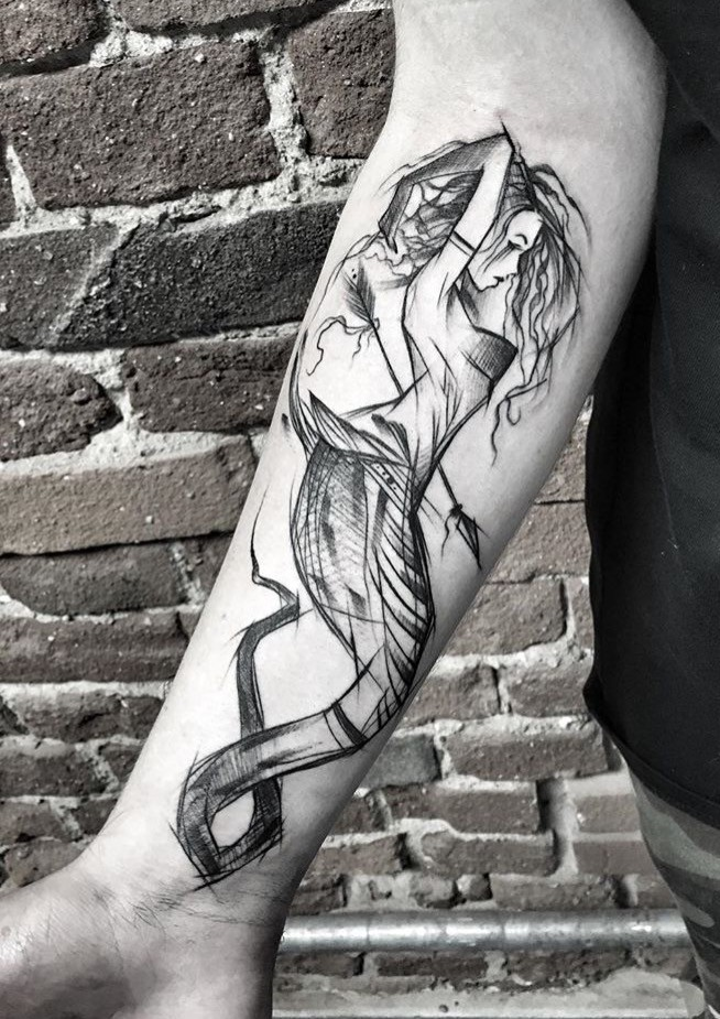 Incredible looking black ink forearm tattoo of mermaid by Inez Janiak