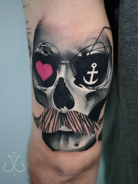 Incredible looking colored arm tattoo of skull with mustache and heart