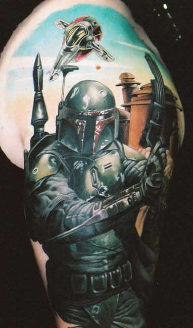 Incredible looking colored very detailed Boba Fett tattoo on shoulder