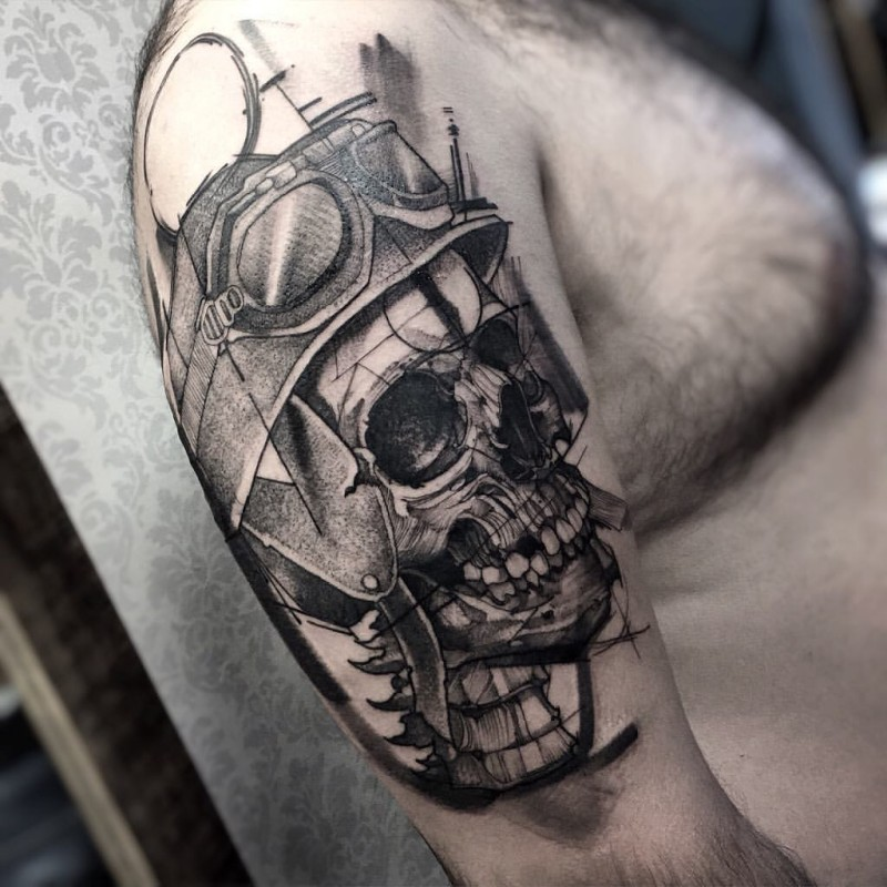 Incredible looking sketch style black ink bike rider skeleton in helmet