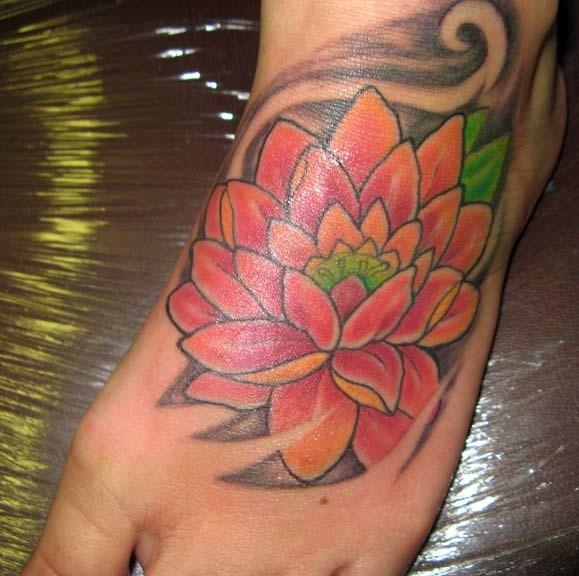 Incredible lotus foot tattoo for girls