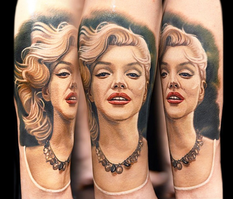 Incredible Marlin Monroe with waving hair lifelike 3D realistic portrait colored tattoo in realism style